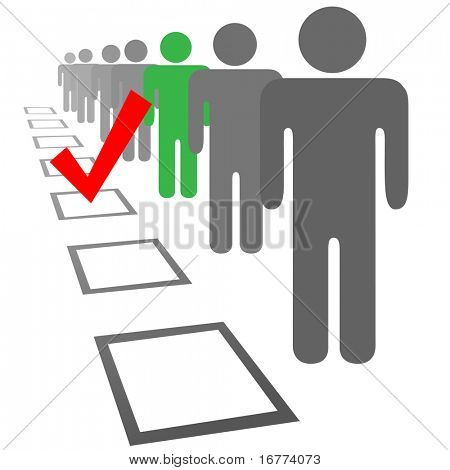 Choose a person from a line of people in selection election vote boxes