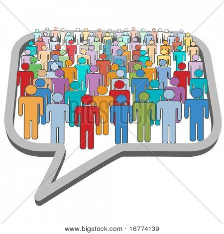A large group of social media people meet inside a communication speech bubble