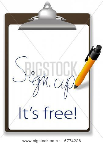 Clipboard and pen icon invites guests to click link and sign up for free to join your website, add text and graphics in background copy space.