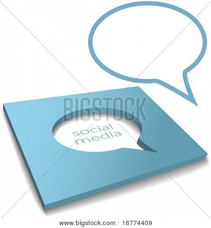 Social media speech bubble cut out of a box as negative copy space