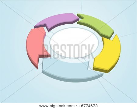 Work flow cycle 5 color process management arrows circle sectors