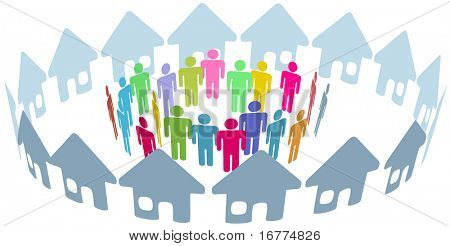 Red social de barrio hogar personas reunirse dentro de un círculo de casas