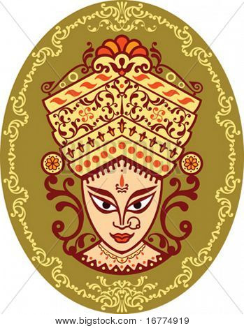 Durga Indian Goddess ornamental face.