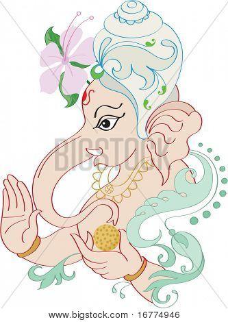 Ganesh wearing Shankha's ornamental Crown with flower