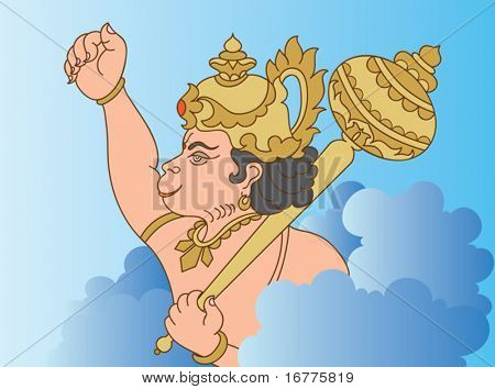 Hanuman the hindu ape (Monkey) god flying. He is one of the most important personalities in the Indian epic, the Ramayana.