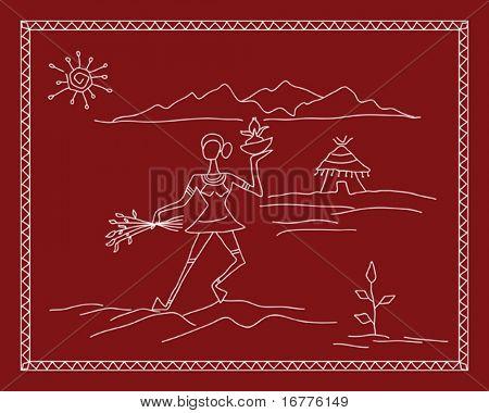 Folk, tribal Designs, Motif, wall painting, Indian Village scane