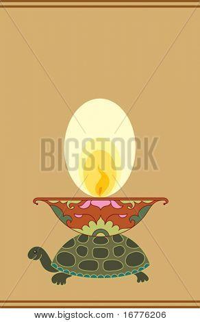 Diya, Deepak (oil Lamp) Ornamental on Turtle Back