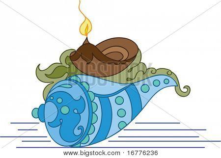 Diya, Deepak (oil Lamp) Ornamental and Shankh (Conch, Snail Shell)