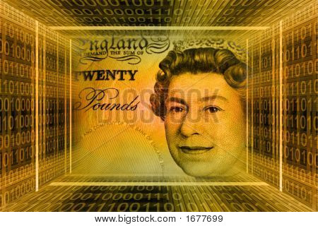 Money Concept, Great Britain Pounds. Global Information Technology, Binary Code Tunnel.