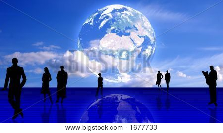 Plain People Team Background. People Silhouettes And The Earth Planet