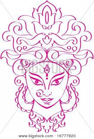 Calligraphic Durga Indian Goddess ornamental design