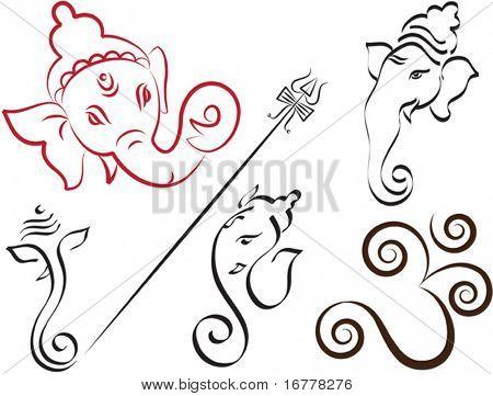 Calligraphic Ganesha, Aum, Trident