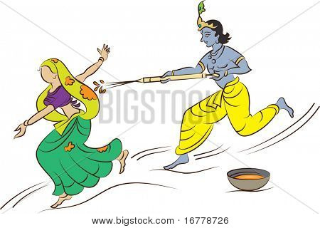 Raster Calligraphic Krishna Playing Holi with Gopi