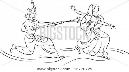 Calligraphic Krishna Playing Holi with Gopi