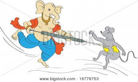 Raster Ganesha Playing Holi with Mouse
