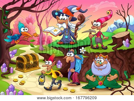 A group of dwarfs is searching for the treasure. Vector fantasy illustration.