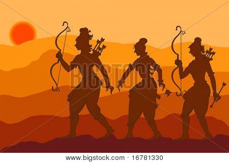 Lord Rama with Sita and Laxman going to forest (vanvass) Shadow Art