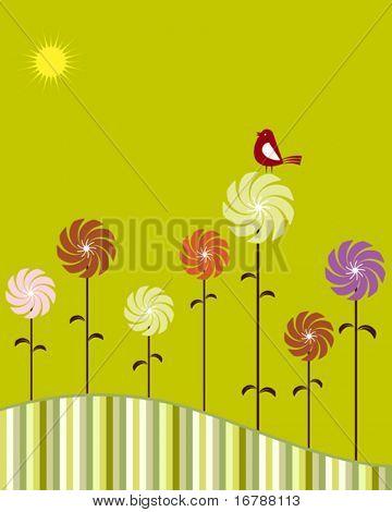 Card Design Artistic Flower, Bird