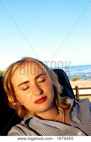 Blonde Woman Relaxing On Her Vacation