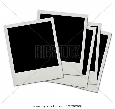stack of instant photo frames on white background