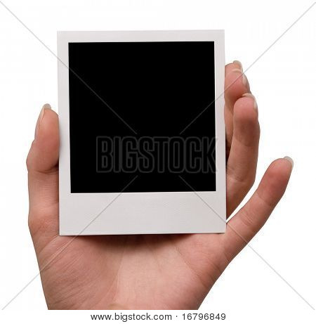 holding blank instant photo, isolated