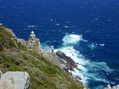 stock photo of fynbos  - Cape Point light house just south of Cape Town and on the south western most tip of Africa - JPG