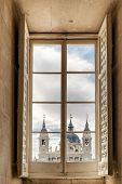 Постер, плакат: The Cathedral Of Saint Mary The Royal Of La Almudena From The Window Of The Royal Palace Of Madrid