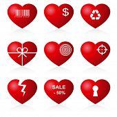 stock photo of gash  - Icon hearts on white background - JPG
