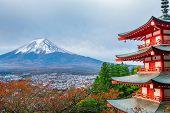 Mount Fuji, Chureito Pagoda In Autumn poster