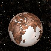 image of eastern hemisphere  - Abstract illustration of a Rusty Crusty Red Grunge Earth - JPG
