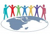 image of eastern hemisphere  - Diverse group of symbol people hold hands around map of planet earth - JPG