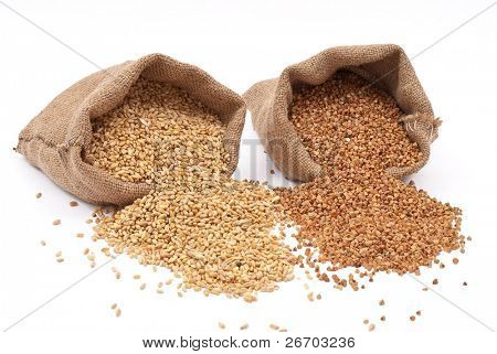 Burlap sack with wheat grain and buckwheat