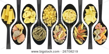 Misc raw pasta over spoons