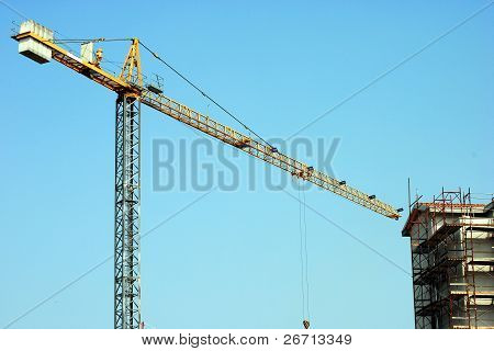 Yellow whooping crane close to unfinished buildings