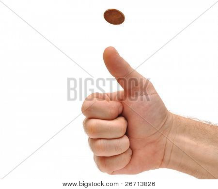 Man's hand throwing up a coin to make a decision on white