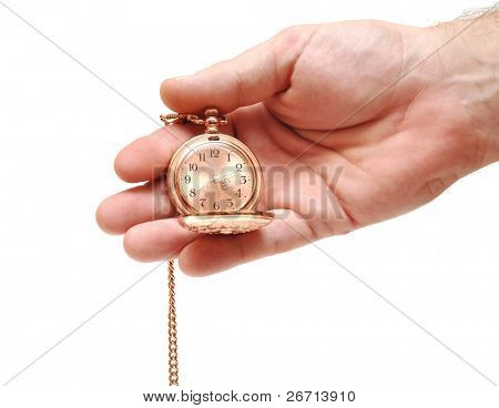 golden pocket watch in hand isolated on white