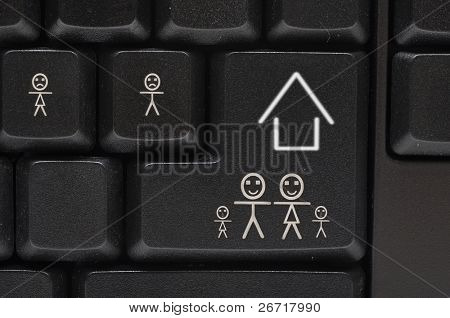 black computer keyboard with smile key-happy family