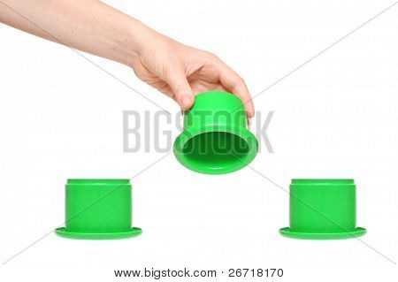 shell game, isolated on white background. You can add text