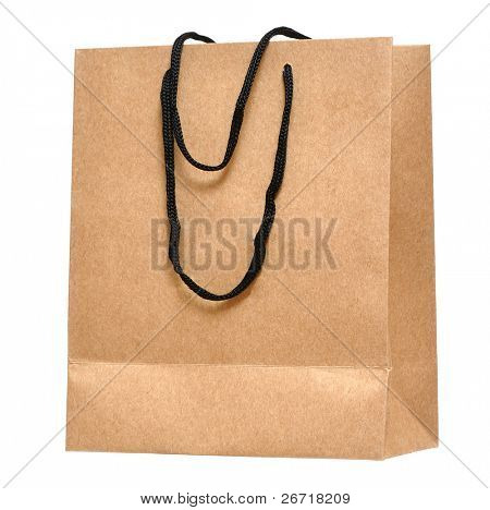 Shopping bag made from brown recycled paper. Add your own design or logo.
