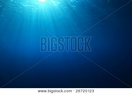 Abstract Blue Water Background with Sunrays