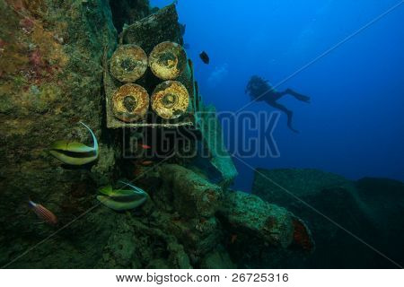 Shell Cases and Diver on the wreck of SS Thistlegorm