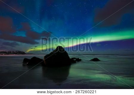 Aurora borealis northern lights on