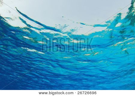 Abstract background of Blue water ripples from underwater
