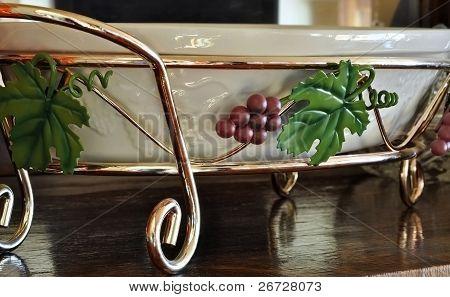 Grape Metal Platter Holder Household Object