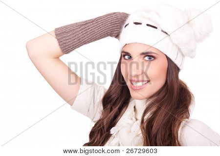 portrait of young woman dressed in scarf and hat, isolated on white background