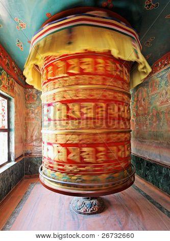 Huge rotating praying drum in Boudha Nath, Kathmandu, nepal