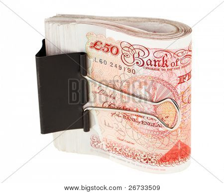 Bundle of 50 pound sterling bank notes fasten with paper clip, isolated  on white