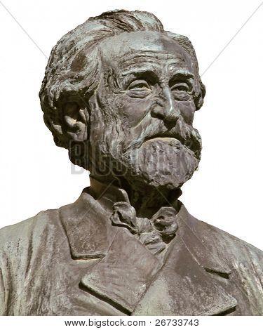 Giuseppe Verdi, famous italian opera composer; isolated on white from bronze bust imagine