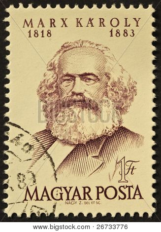 Ungarn ca. 1968: gedruckte in Ungarn Briefmarke zeigt Bild von Karl Marx, berühmten Kommunismus Sociolog