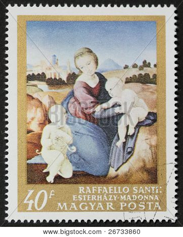 HUNGARY - CIRCA 1968: a stamp printed in Hungary shows reproduction of ?Madonna Estherazy?, painted by Raphael, the famous italian renaissance painter. Hungary, circa 1968